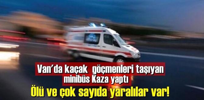 göçmenleri taşıyan minibüs Kaza yaptı