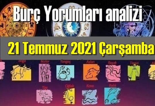 21 Temmuz 2021 Çarşamba/ Günlük Burç Yorumları analizi