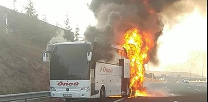 Otobüs yandı