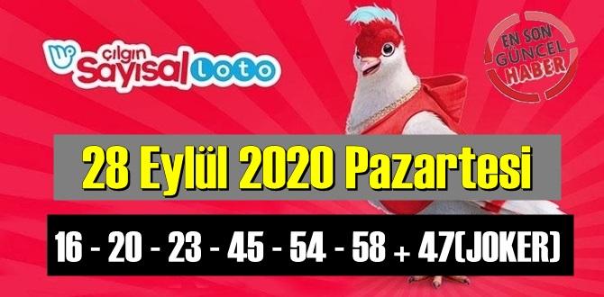 Sayısal Loto çekiliş sonuçları /28 EYLÜL 2020