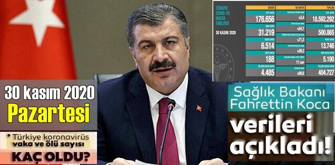 Durdurulamıyor, 30 kasım 2020 Pazartesi Türkiye Koronavirüs veri tablosu, Durum ağır!