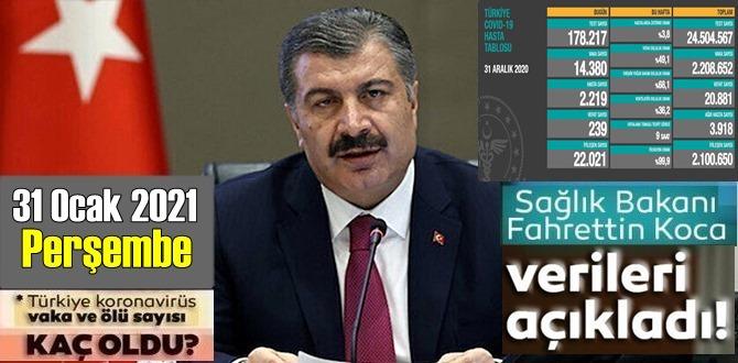 31 Aralık 2020 Perşembe/ Türkiye Koronavirüs veri tablosu açıklandı