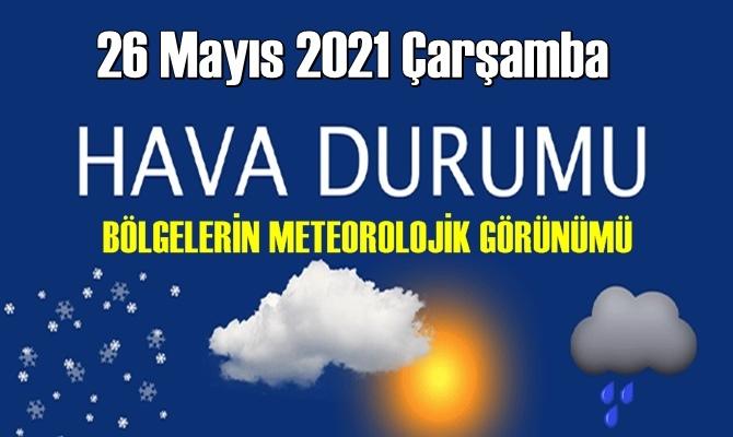 26 Mayıs 2021 Çarşamba Hava durumu açıklandı