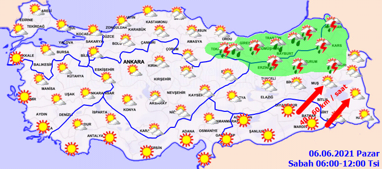 5 Haziran 2021 Cumartesi Hava durumu açıklandı, Bölgelerimizin Son durumu!